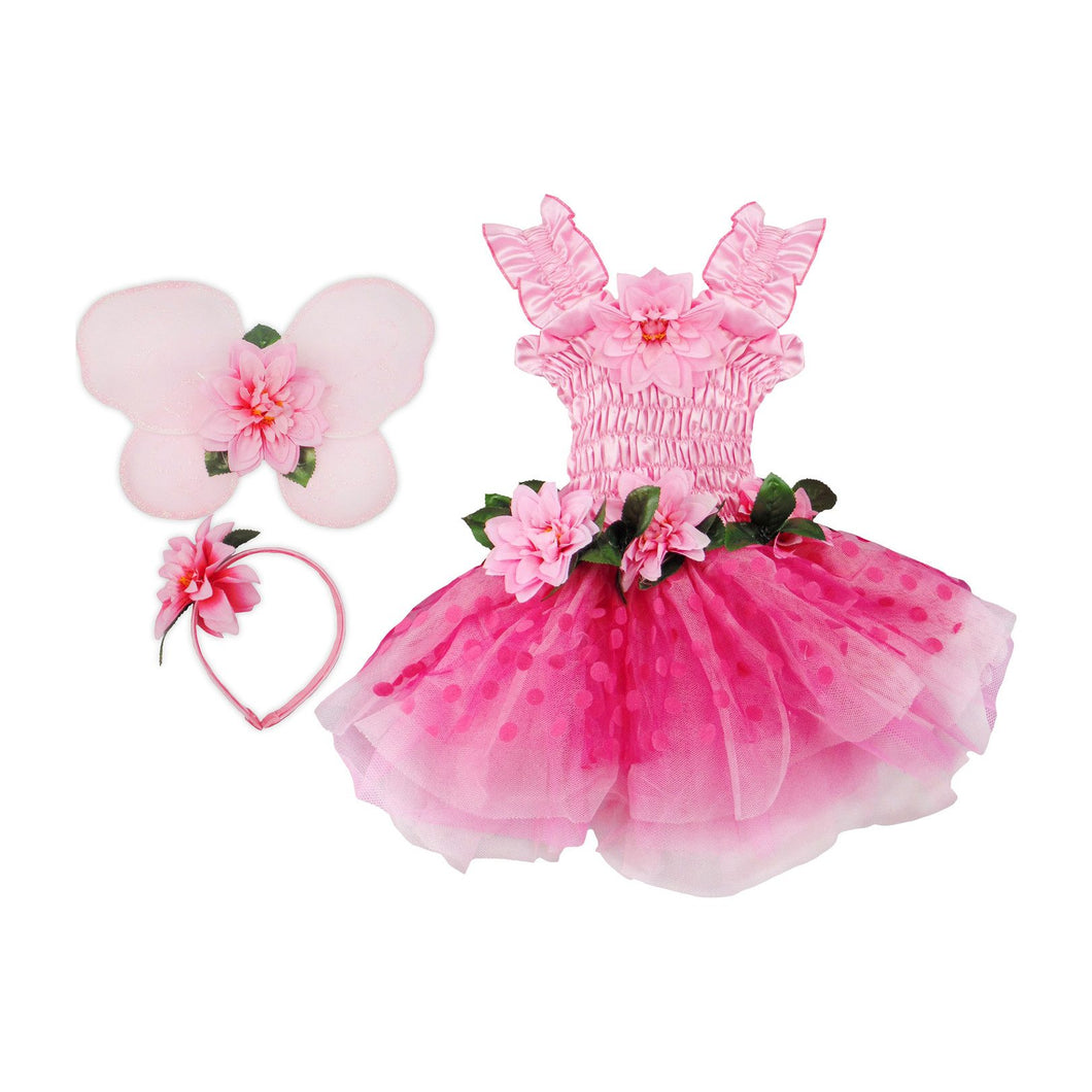 Great Pretenders Fairy Blooms Deluxe Dress & Wings, Pink, US Size 3-4