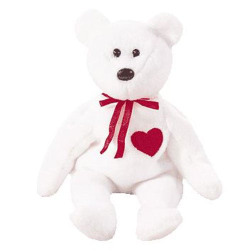 TY Beanie Babies - VALENTINO the White Bear (8.5 inch)