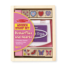 Load image into Gallery viewer, Wooden Stamp Set - Butterflies and Hearts