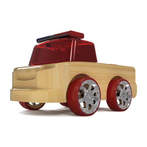 Automoblox Collectible Wood Toy Cars and Trucks--Micro T17L Rescuer