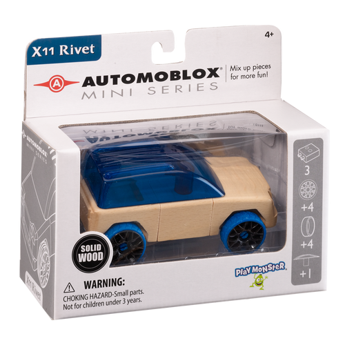Automoblox Collectible Wood Toy Cars and Trucks—Mini X11 Rivet