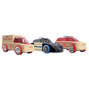 Automoblox Collectible Wood Toy Cars and Trucks—Rescue Vehicles - Mini  X9 Rescue SUV, S9 Police Cruiser and T900 Ambulance 3-Pack