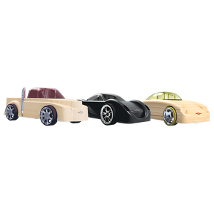 Automoblox Collectible Wood Toy Cars and Trucks—Mini  C13 Manta, SC2 Fang and T16L Rex 3-Pack