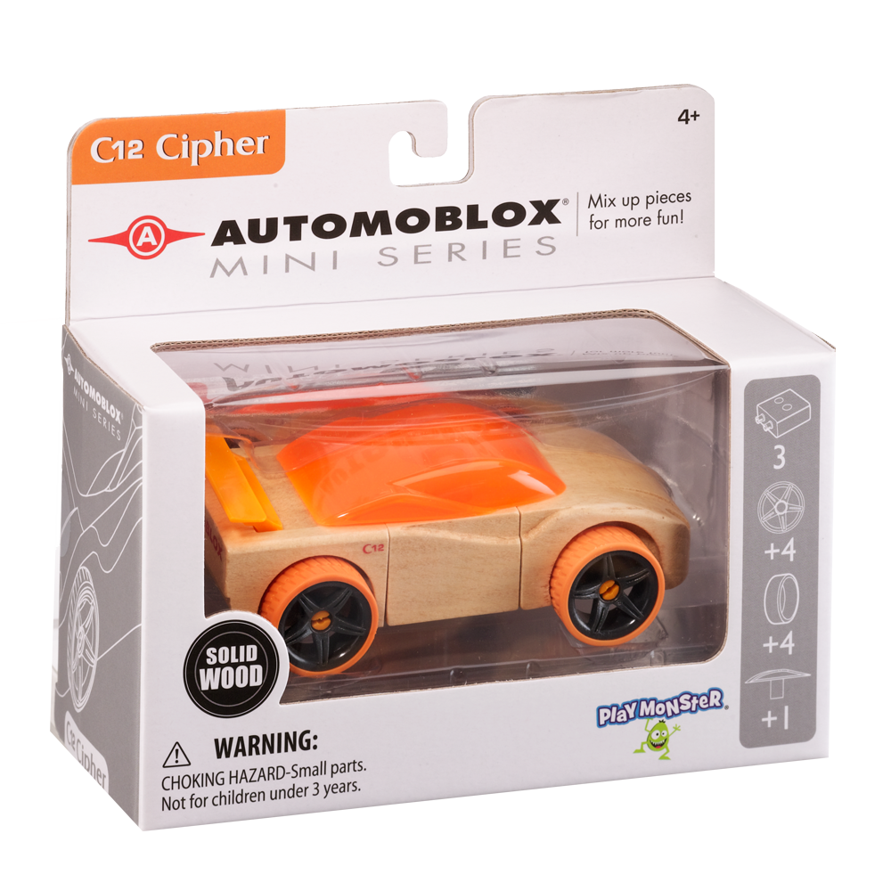Automoblox Collectible Wood Toy Cars and Trucks—Mini C12 Cipher