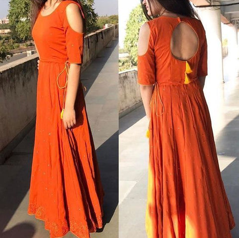 indo western dress styles - long frock - myTailor.in
