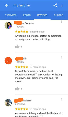 myTailor reviews 5 star service