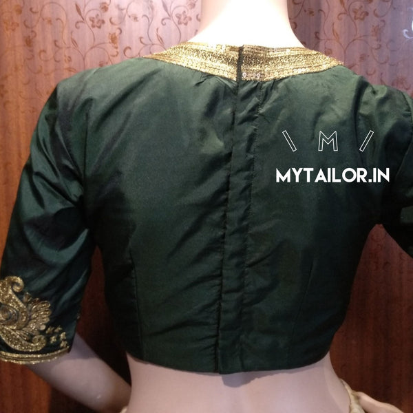 High neck blouse design 153 with sequins handwork