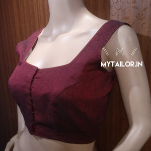 Blouse Design 155 - Trendy sleeveless blouse in handloom cotton