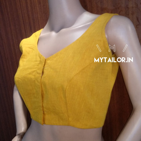 Blouse Design 156 - Trendy v neck handloom blouse - sleeveless style