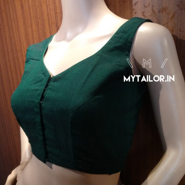 Blouse Design 157 - Trendy 3 point neck blouse in handloom cotton