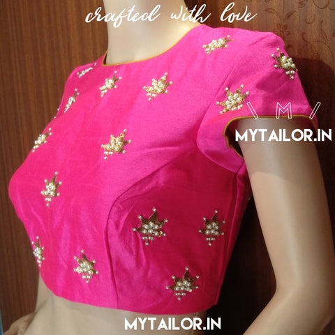 Blouse Design 101 - High Neck Saree Blouse with Beautiful sequins and pearls work