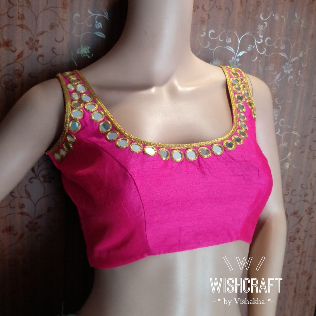 Mirror work Blouse Design 150 - gorgeous sleeveless blouse - bollywood style
