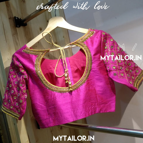 Designer Blouse 166 - Maggam Work Embroidery on Sleeves and Neckline - Saree Blouses Online - my Tailor