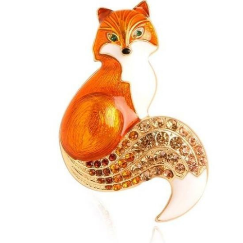 Rhinestone Fox Enamel Pin