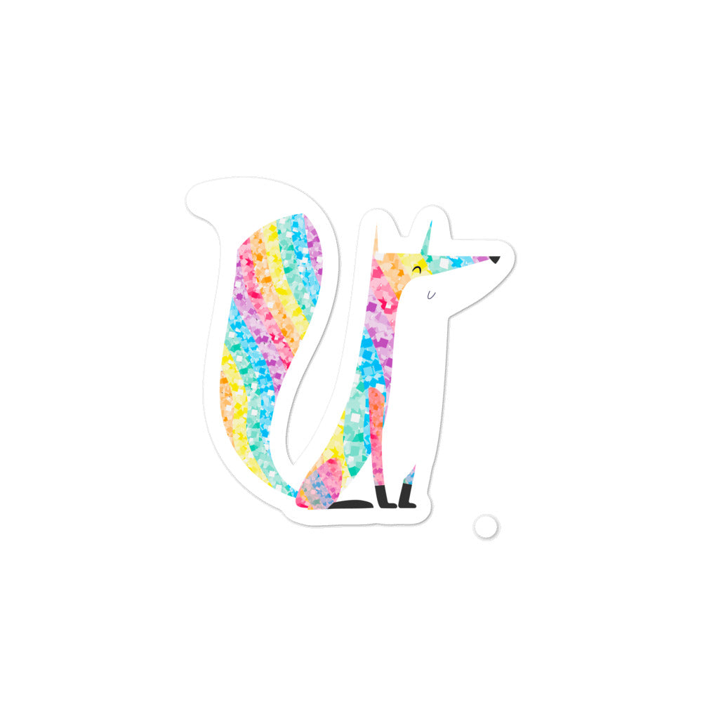 Fox Glitter Bubble-Free Stickers