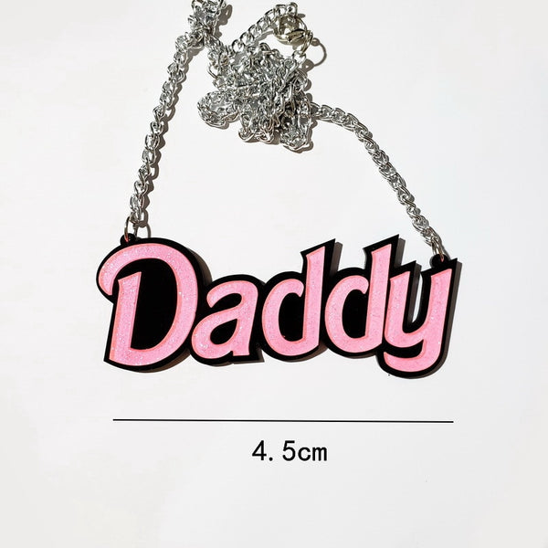 Daddy Acrylic Statement Chain Necklace