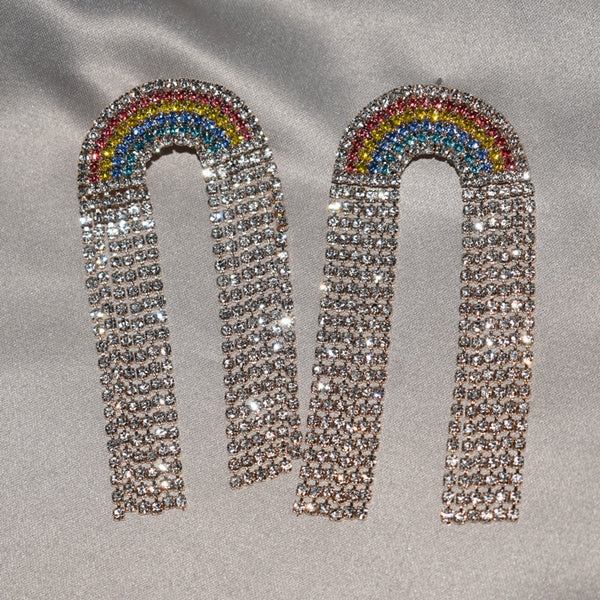 Rainbow Rhinestone Earrings