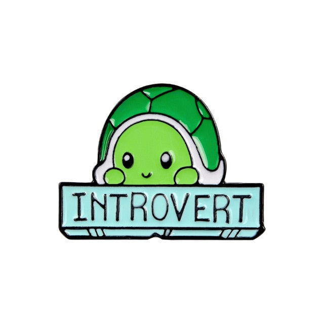 Introvert Turtle Cartoon Enamel Pin