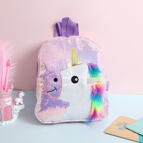 Glittering Fur Unicorn Backpack