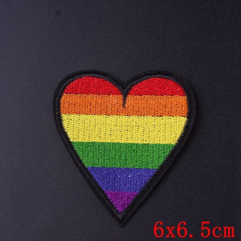 LGBT Pride Heart Iron On Embroidered Patch