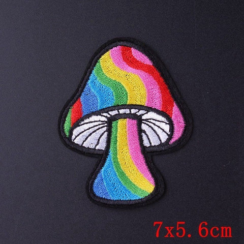 Rainbow Mushroom Iron On Embroidered Patch