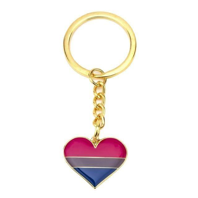 Bisexual Pride Heart Keychain - Queer In The World: The Store