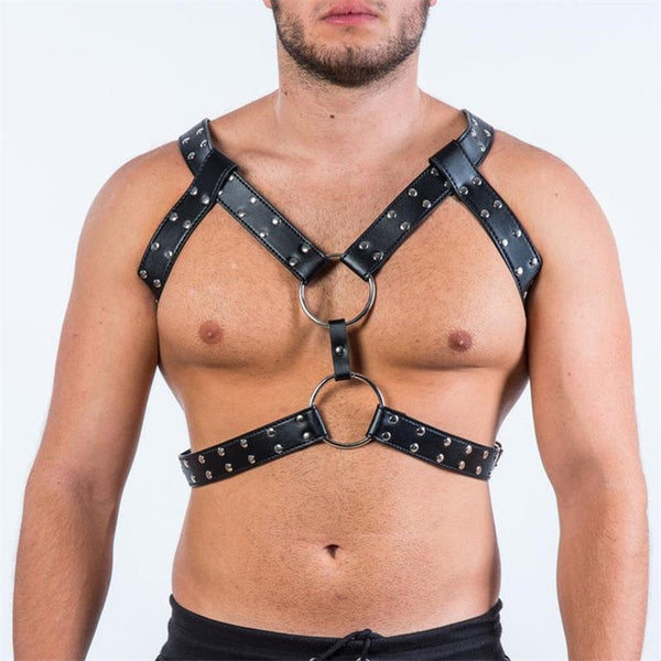 Y-Studded Leather Harness