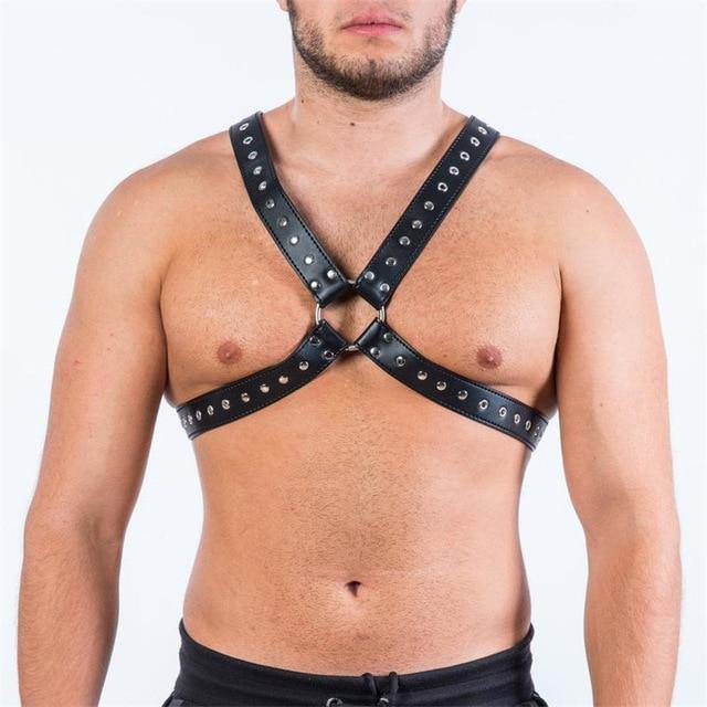 4-Strap Studded Leather Harness