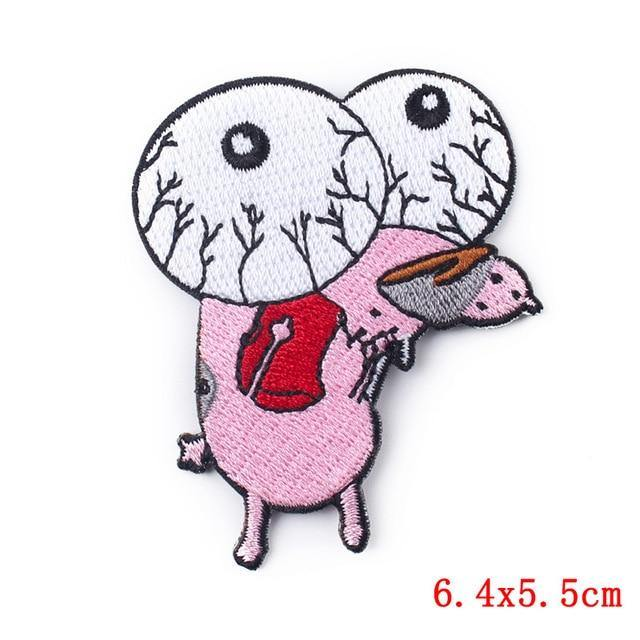 Courage The Cowardly Dog Iron On Embroidered Patch - Queer In The World: The Store
