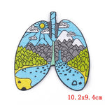 Earth Lungs Iron On Embroidered Patch