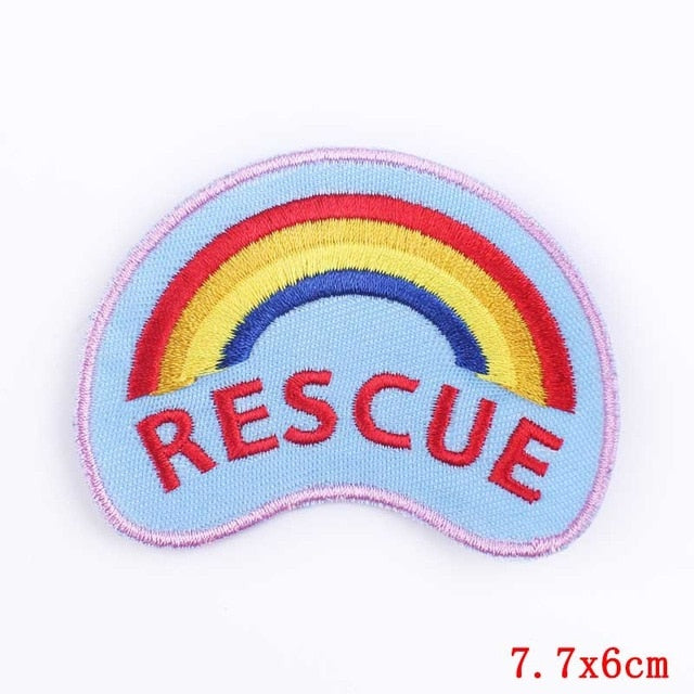 Rainbow Rescue Iron On Embroidered Patch