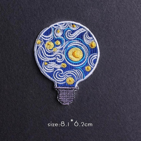 Starry Night Bulb Iron On Embroidered Patch