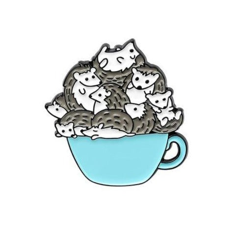 A Cup of Hedgehogs Enamel Pin - Queer In The World: The Store
