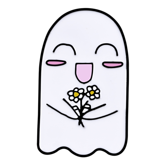 Happy Ghost With Flowers Enamel Pin - Queer In The World: The Store