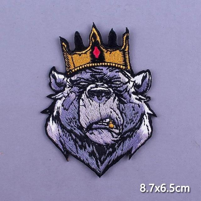 Crown Bear Iron On Embroidered Patch - Queer In The World: The Store