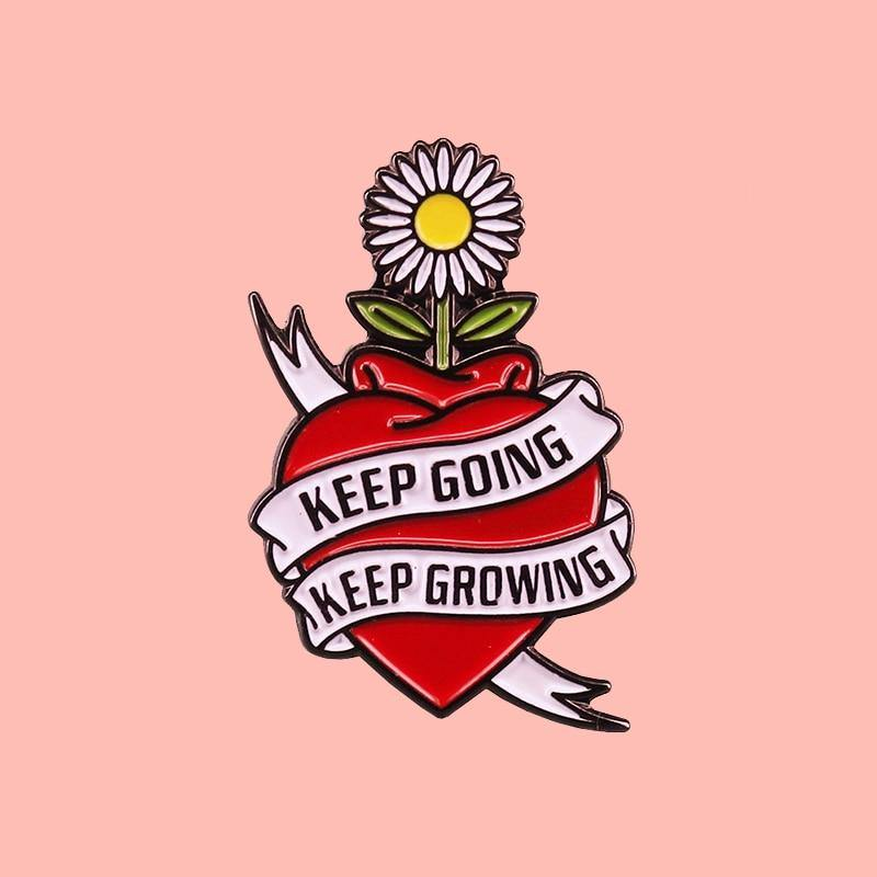 Keep Going Keep Growing Sunflower Enamel Pin - Queer In The World: The Store