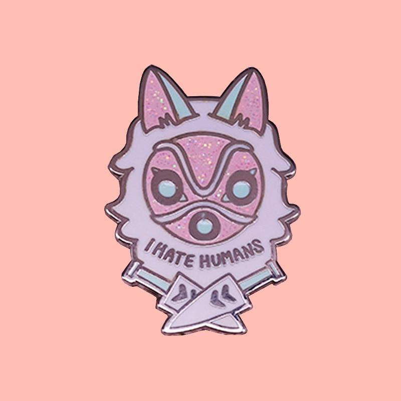 I Hate Humans Princess Mononoke Enamel Pin - Queer In The World: The Store