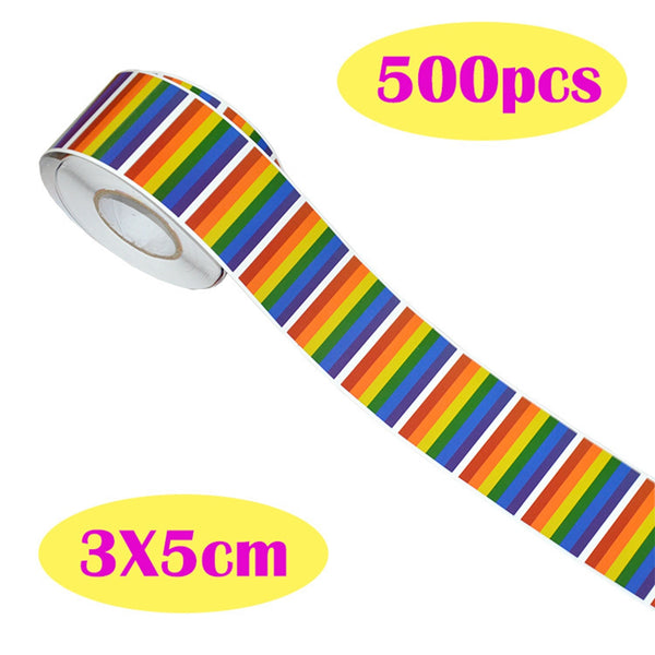 500 LGBT Pride Flag Stickers On A Roll