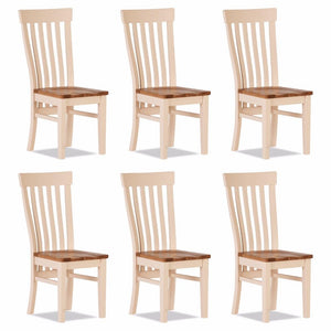 Julia Curved Dining Chair Wooden Seat (Set of 6)