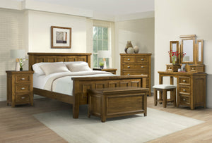 London King Size Bed Frame - Dark Wood Tone