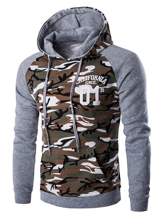 CaliVibes Kangaroo Pocket Camo Long Sleeve Hoodie For Men