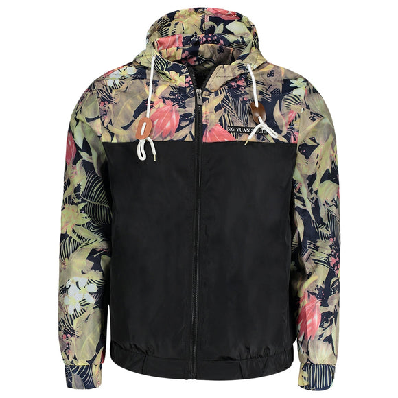 CaliVibes Hooded Plant Print Windbreaker Jacket