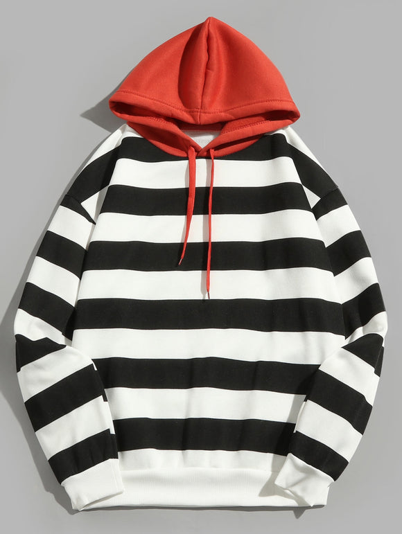 CaliVibes Contrast Striped Print Pullover Fleece Hoodie