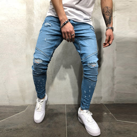 CaliVibes Men's Printed Denim Cotton Vintage Wash Hip Hop Work Trousers Jeans Pants