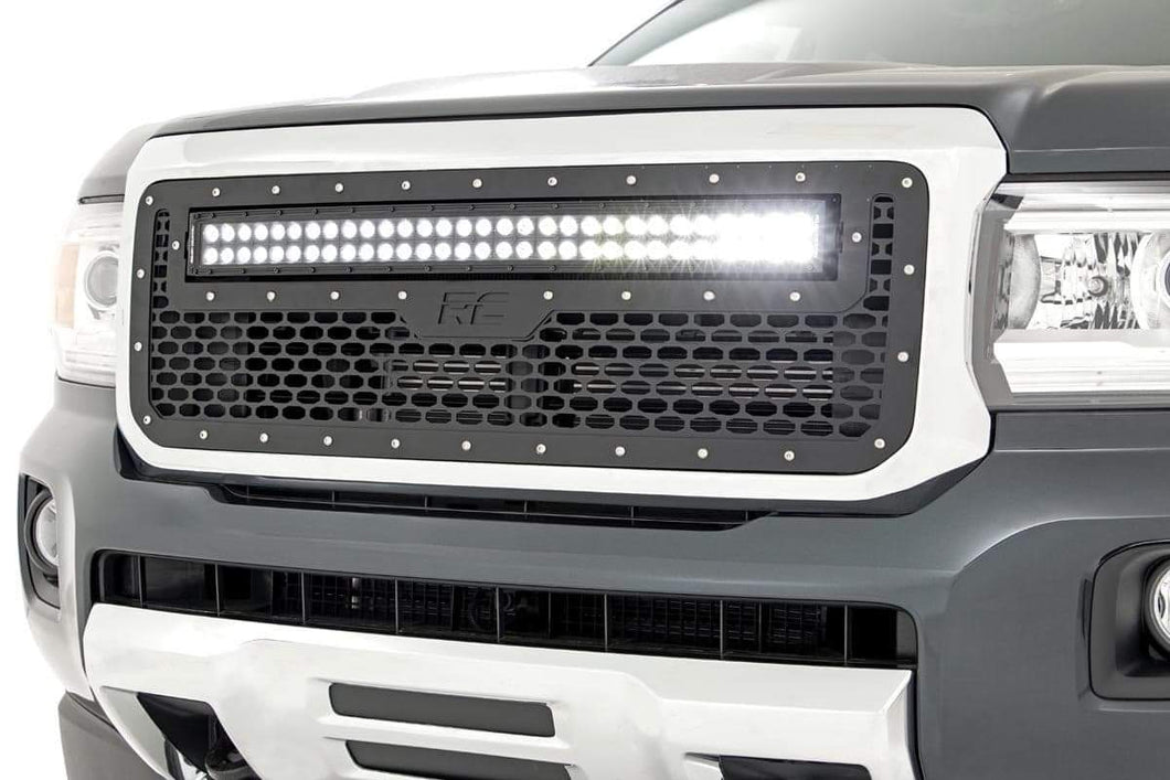 GMC MESH GRILLE W/30IN DUAL ROW BLACK SERIES LED (15-19 CANYON)