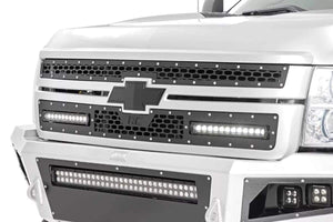 CHEVY MESH GRILLE W/ DUAL 12IN BLACK SERIES LEDS (11-14 SILVERADO HD)