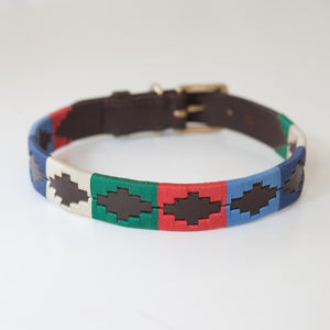 Good Dog Lunar Collar in brown leather blue red green cream Large size