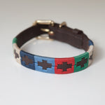 Good Dog Lunar Collar in brown leather blue red green cream small medium size