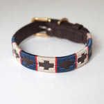 Good Dog Peanut Collar in brown leather blue red cream small medium size