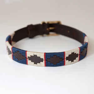 Good Dog Peanut Collar in brown leather blue red cream Large size